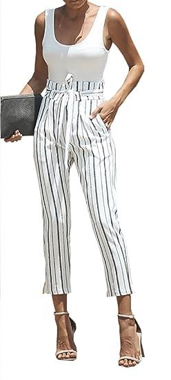 Carolilly Pantalon Femme Eté Chic et Elégant Taille Haute avec Ceinture  Couleur Blanc avec Rayure Noire 4c993dfa27a5