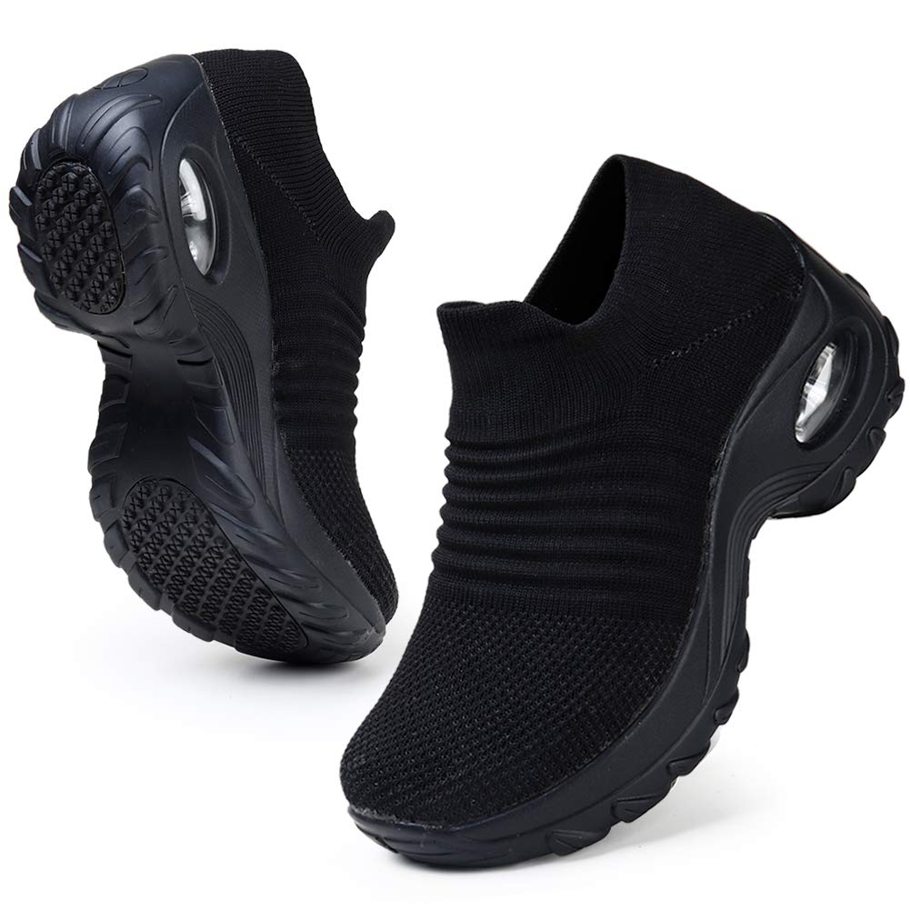 HKR Womens Walking Tennis Shoes Slip On Light Weight Mesh Platform Air Sneakers