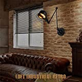 HOMEE Wall lamp- american industrial wind loft retro cafe bedroom bedside creative personality folding retractable iron wall lamp --wall lighting decorations