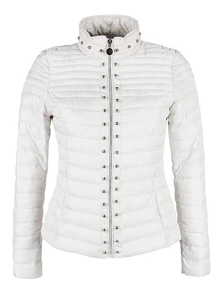 23779e2dfd8a FLY MODA Giubbino 100 Grammi con Borchie Donna Bianco Sintetico: Amazon.it:  Abbigliamento