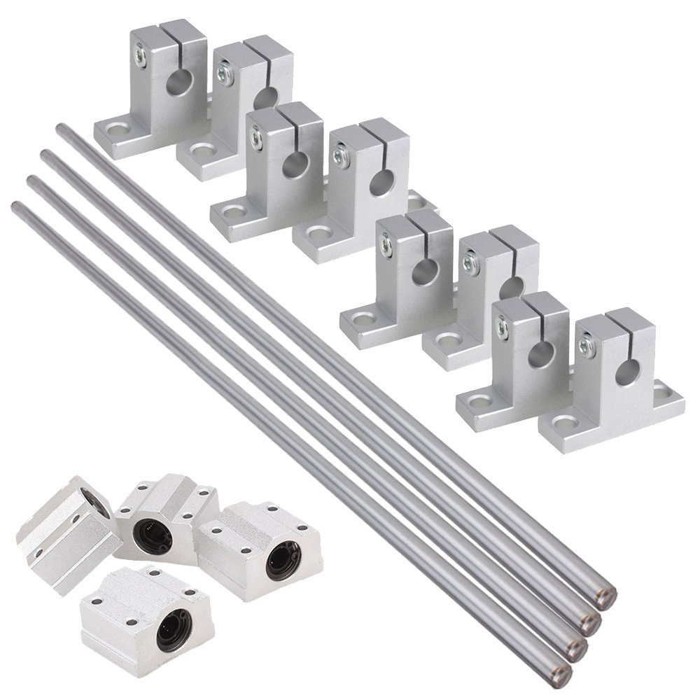 Bearing/& Support,Ideaker Horizontal 8mm Dia Linear Motion Ball Bearing Slide Bushing /&400mm Linear Shaft Optical Axis with Rod Rail Support Set of 16