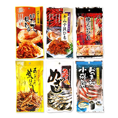 Assorted-6-Packs-of-Otsumami-Japanese-Dried-Seafood-Snack-eaten-with-Sake-Set-G-Broiled-Fish-etc-Ninjapo-Wrapping