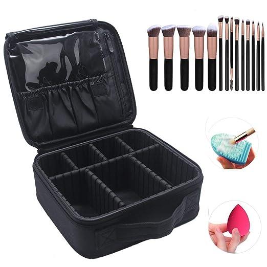 Travel Train Case Professional Cosmetic Bag Sturdy Makeup Case Adjustable Dividers Make-up Artist Train Box with 14 Pcs Premium Makeup Brushes Set, Blender Sponge and Brush Egg(Total 17 pcs)