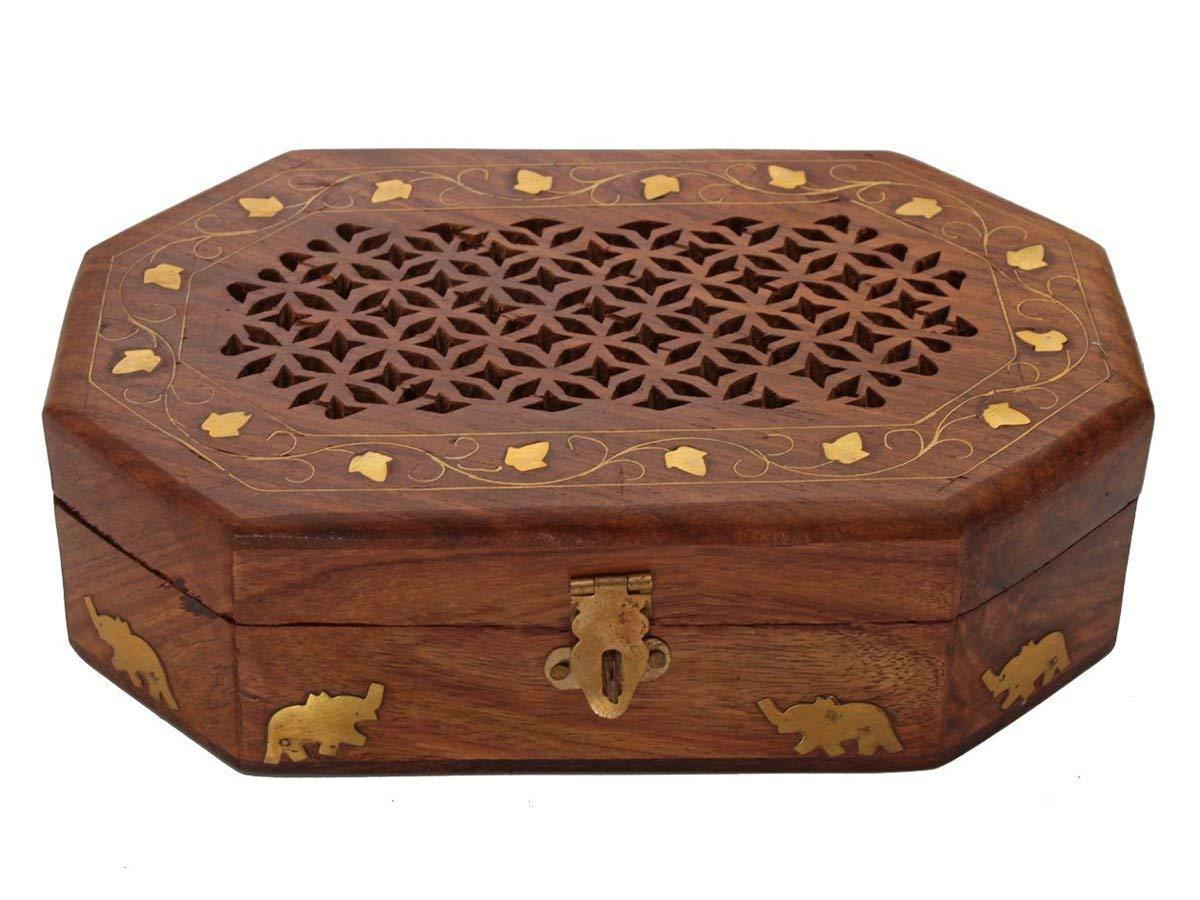 storeindya Wooden Jewelry Box Trinket Chest Keepsake Boxes with Lock Handmade Decorative Storage Box Organizer Box Home Decor Gifts (Geometric Cutouts Octagonal - Elephant Brass Inlays)