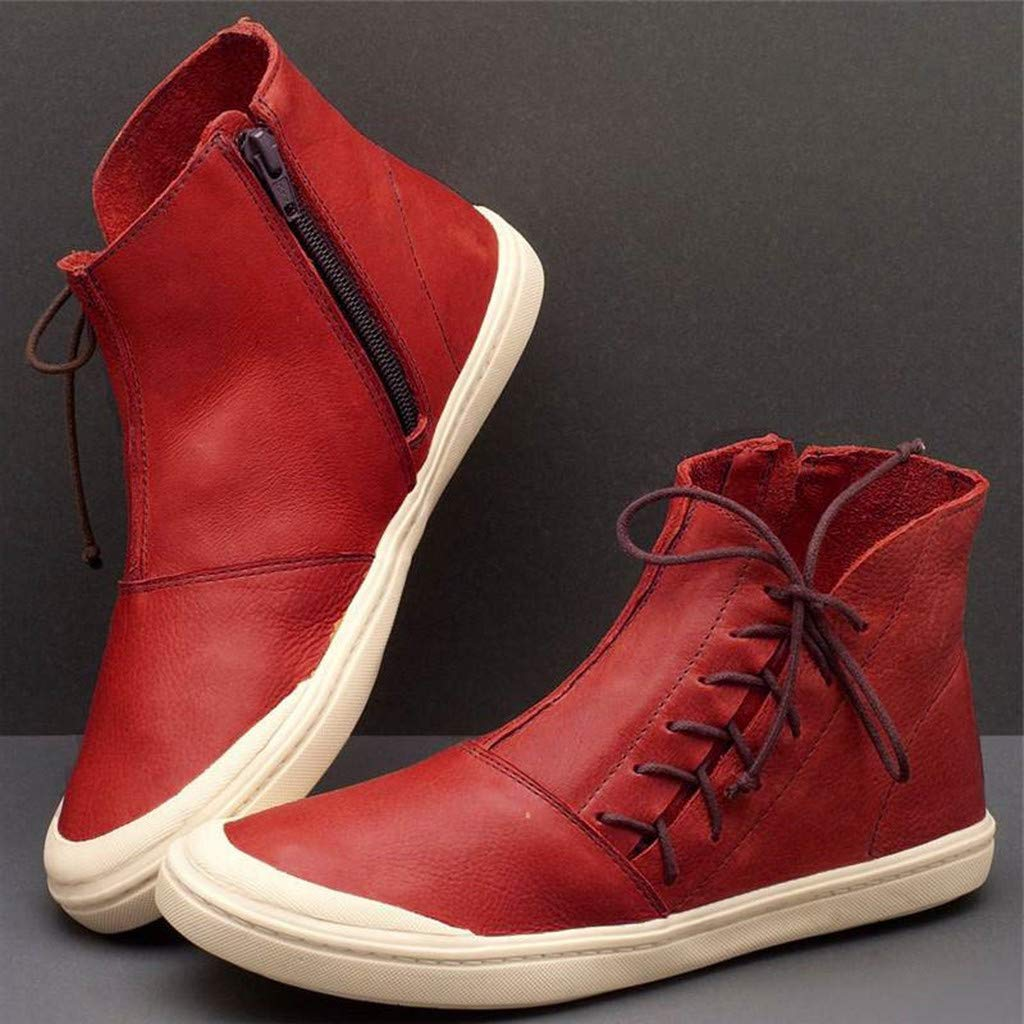 Xinantime Women Vintage Zipper Ankle Boots Casual High-Top Flat Short Boots Winter Round Toe Waterproof Shoes