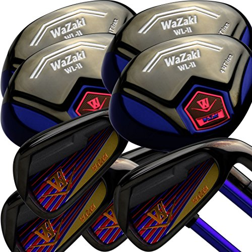Titanium Straight Distance Golf Balls - Japan WaZaki Black Finish WL-IIs 4-SW Combo Hybrid Irons USGA R A Rules Golf Club Set + Headcover(Pack of 16,Regular Flex)