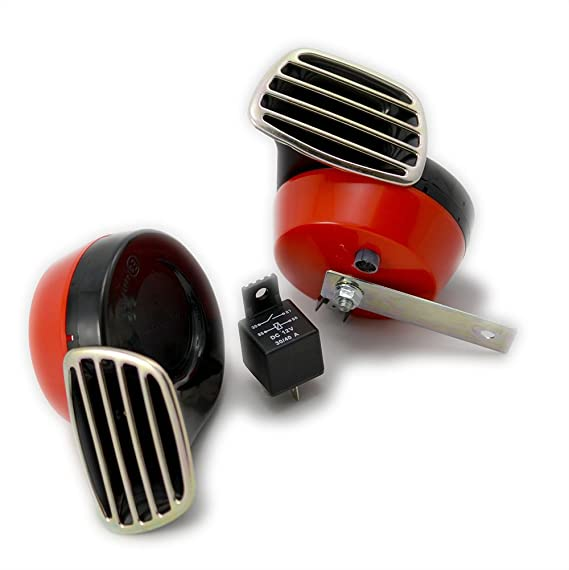Amazon.com: RED Black Twin TRUMPET SNAIL High/Low Tone 12v Volt Electromagnetic Loud Dual Replacement HORNS (Quantity 2) Compact Complete Universal Kit with ...