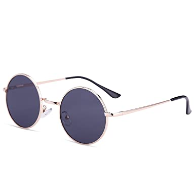 Dollger John Lennon Round Sunglasses Steampunk Metal Classic Frame Mirror Lens(Blue Mirror Lens+Silver Frame) 9Y3iLy34