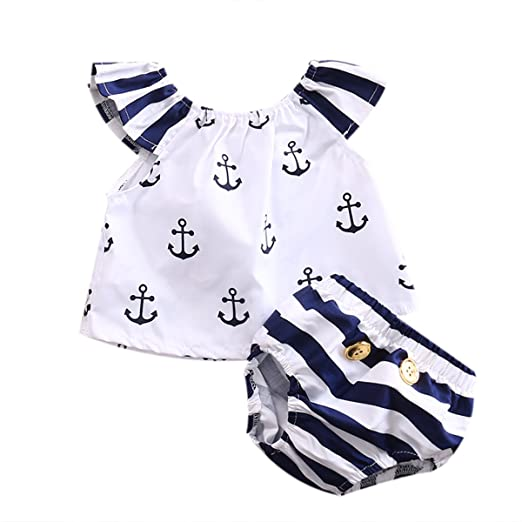 5e3e5adb4dda Amazon.com  Toddler Kids Baby Girls Outfits Strapless Anchor T-shirt ...