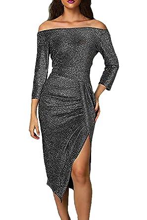 3f56b95c Ancapelion Women's Off Shoulder Long Sleeve Metallic Glitter Party Midi  Dress Ruched High Slit Formal Dress