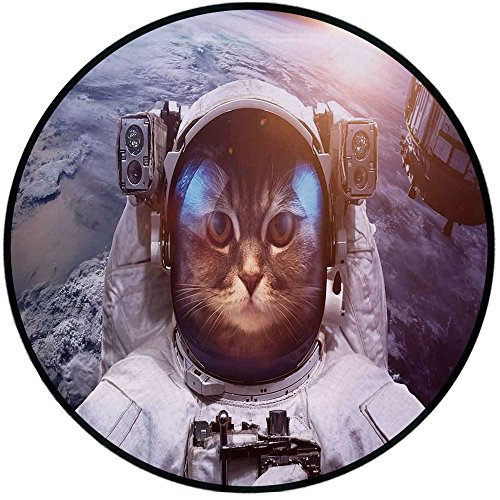 - Printing Round Rug,Space Cat,Astrounaut Cosmonaut Cat in Suit with Space Satellite Eclipse Image Mat Non-Slip Soft Entrance Mat Door Floor Rug Area Rug For Chair Living Room,Blue Grey and White