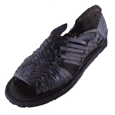 5d1e11116455eb Mexican Sandals-Women s Genuine Leather Quality Handmade Sandals Huarache  (10) Black