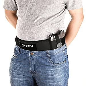 XIXOV Belly Band Holster, Concealed Weapon Carry Plate Carrier with Zipper Purse for Women Men Fits Glock 19, 17, 42, 43, Sig P320, P238, Ruger LCP, etc