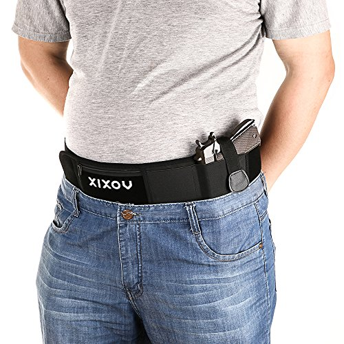 Belly Band Holster, XIXOV Concealed Weapon Carry Plate Carrier with Zipper Purse for Women Men Fits Glock 19, 17, 42, 43, Sig P320, P238, Ruger LCP, etc (Carrier Plate Compact)