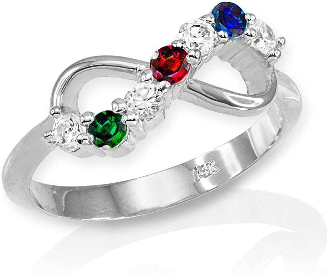 High Polish 925 Sterling Silver Halfway CZ Personalized Mix-and-Match Infinity Ring