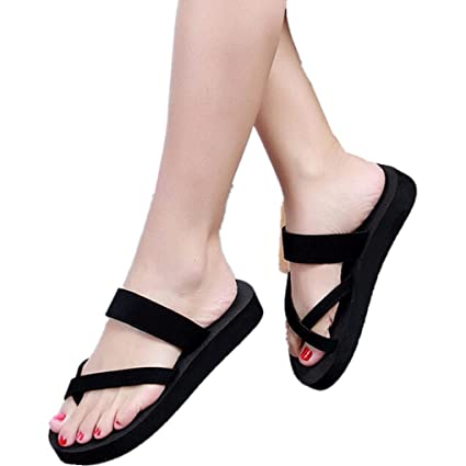 9037251fb haoricu Women Shoes, Womens Summer Flip Flops Casual Slippers Flat Sandals  Beach Open Toe Platform