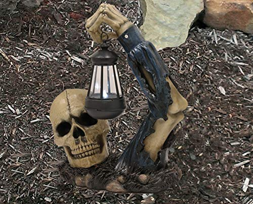 Ebros Gift Death Hallows Skeleton Rising from The Grave Holding Solar Powered Lantern LED Light Patio Decor Figurine Statue Halloween Ossuary Macabre Patio Path Lighter Courtesy Lamp Sculpture