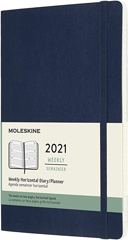 Agenda Settimanale 2021 Colore Blu Zaffiro Copertina Rigida Weekly Horizontal Planner Formato Large 13 x 21 cm Agenda Settimanale 12 Mesi con Layout Orizzontale 144 Pagine Moleskine