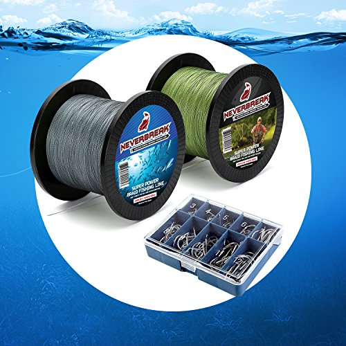 """Neverbreak """"More Fish"""" Maximum Power Braided Fishing Line Set. 500M (550 Yards) and 300M (328 Yards), Braided Fishing Two Spool Super Pack. Very Resistant and Sturdy. 70 Free Fishing Hooks."""