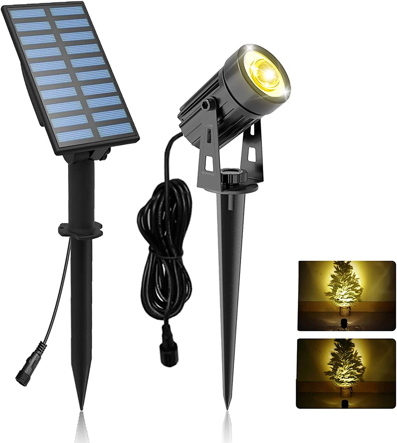 Solar Garden Spot Lights, T-Sunrise LED Solar Light Outdoor Waterproof Auto ON/Off for Garden, Driveway, Pathway, Pool Area(Warm White 3000K)