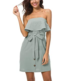 f7dd1422197aa Suimiki Women s Strapless Ruffle Button Up Belted Off Shoulder Mini Dress