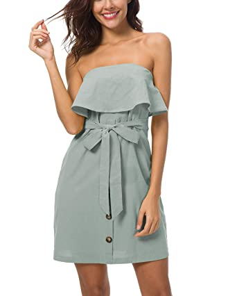 bbfc84ff3d4 Suimiki Women s Strapless Ruffle Button Up Belted Off Shoulder Mini Dress  Green Small
