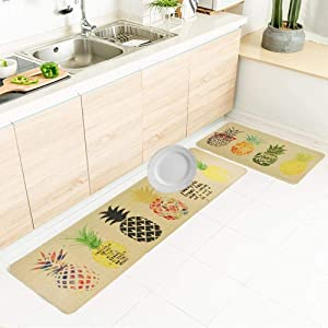 Wolala Home Natural Rubber 2 Pieces Sets Non-Slip Kitchen Rug and Carpet Fruit Pineapple Comfortable Resist Fatigue Laundry Room Area Rugs Bedside Rug Runner Doormat (18''x29''+18''x71'', Pineapple)