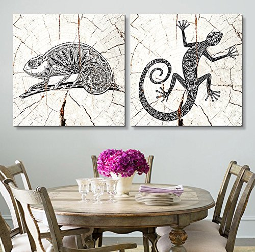 2 Panel Square Tribal Lizards Wood Effect x 2 Panels