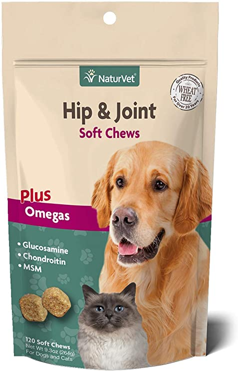 NaturVet Hip and Joint Soft Chews Plus Omegas for Dogs and Cats, 120 ct Soft Chews, Made in the USA