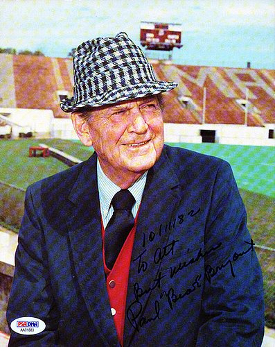 Paul Bear Bryant Signed 8x10 Photo Alabama Crimson Tide To Art Best Wishes - PSA/DNA Authentication - Autographed NFL Football (Alabama Crimson Tide 8x10 Photo)