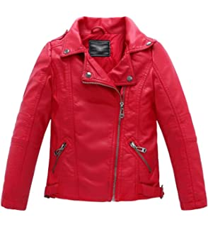 71246a29e Amazon.com  Girls Leather Jacket Kids Boys Motorcycle Outwear Biker ...