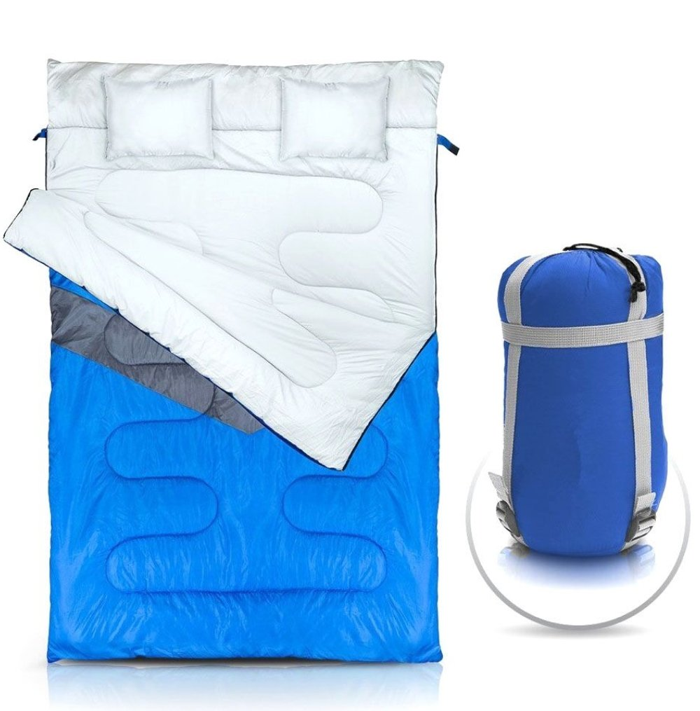 NTK KUPLE Double 2 in 1 Sleeping Bag with 2 Pillows and a Carrying Bag with Compressor Straps for Camping, Backpacking, Hiking. by NTK