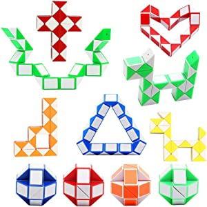 12 Pack 24 Blocks Magic Snake Cube, Mini Plastic Puzzle Cube, Fidget Toys ,Mini Snake Speed Cubes for Kids Party Bag Filler, Random Colors, Party Supplies