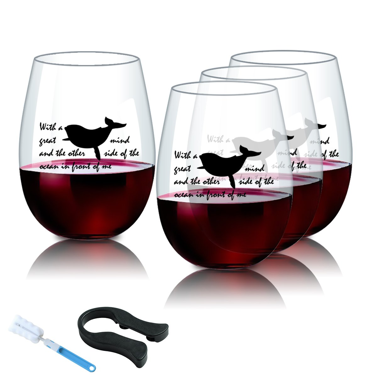 KETIA 4 PCS/Set 16 Oz Stemless Plastic Wine Glasses with Saying~ Premium Quality Wine Tumbler~ Shatterproof Reusable Plastic Wine Cups~Great Whale~Indoor/Outdoor Barware ~