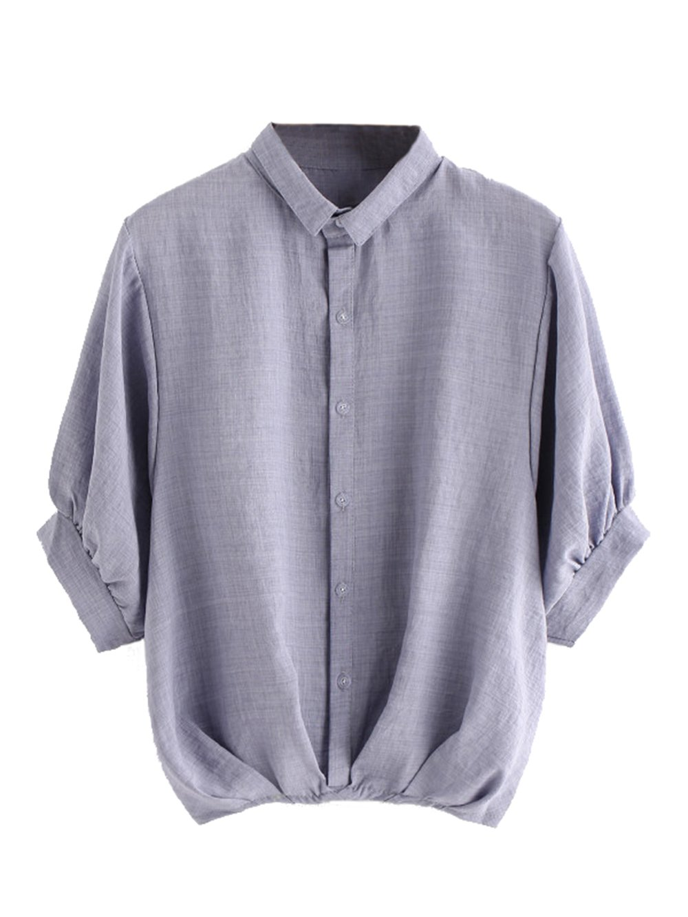 Milumia Women's Lantern Sleeve Pleated Detail Button Down Blouse Shirt Medium Gray