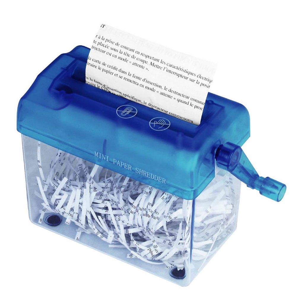 Hand-Aktenvernichter tragbar fü r A6-Papier oder gefaltetes A4-Papier im Hochformat, Fassungsvermö gen 1,5 l, gerader Schnitt blau KAFUKA