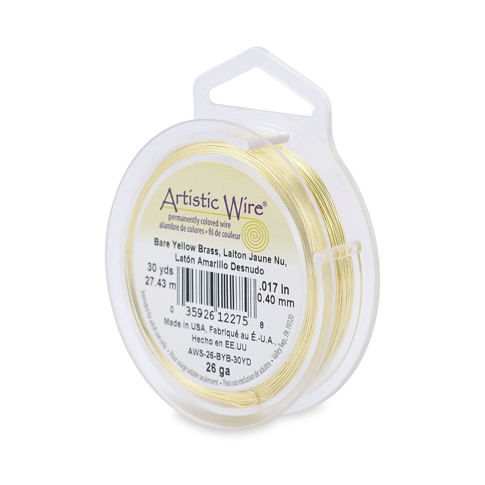 Beadalon 26-Gauge Artistic Wire, 30-Yard, Bare Yellow Brass AWS-26-BYB-30YD