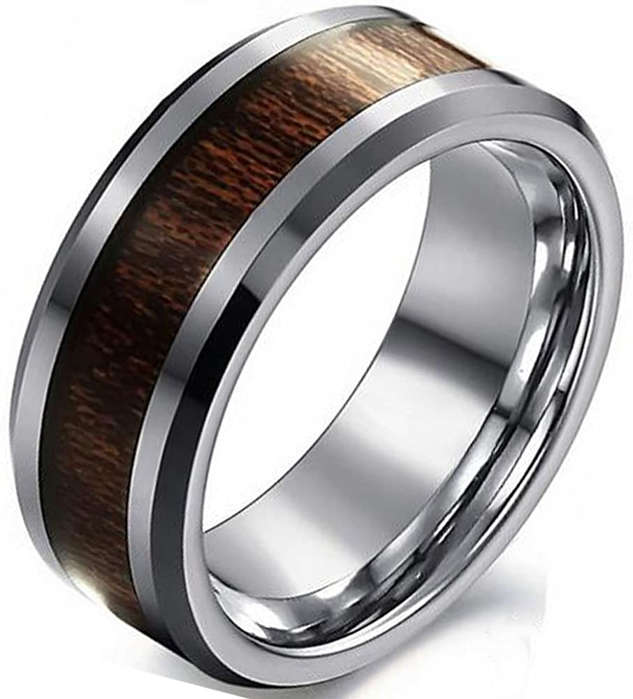 LINGVYTE 8MM Tungsten Carbide Gold Inlaid Wood Ring For Wedding Band Comfort Fit Size 6-15