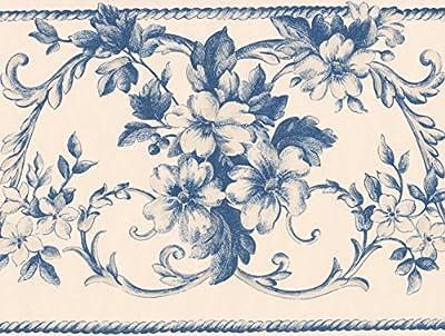 Creme Blue Damask Floral Wallpaper Border Retro Design, Roll 15' x 7''
