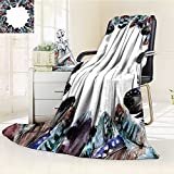 YOYI-HOME Original Luxury Duplex Printed Blanket, Hypoallergenic,Feather House Boho Circle Round Frame with Shabby Ornate Feathers Retro Gypsy Art Multi Perfect for Couch or Bed/W47 x H59
