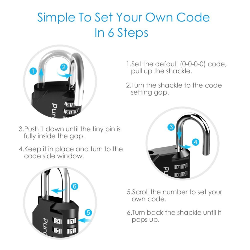 Puroma 2 Pack Combination Lock 4 Digit Padlock For School Gym Locker Diagram Lockersports Lockerfencetoolbox