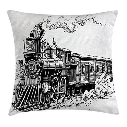 Train Chair Rail - Ambesonne Steam Engine Throw Pillow Cushion Cover, Rustic Old Train in Country Locomotive Wooden Wagons Rail Road with Smoke, Decorative Square Accent Pillow Case, 24 X 24 Inches, Black and White