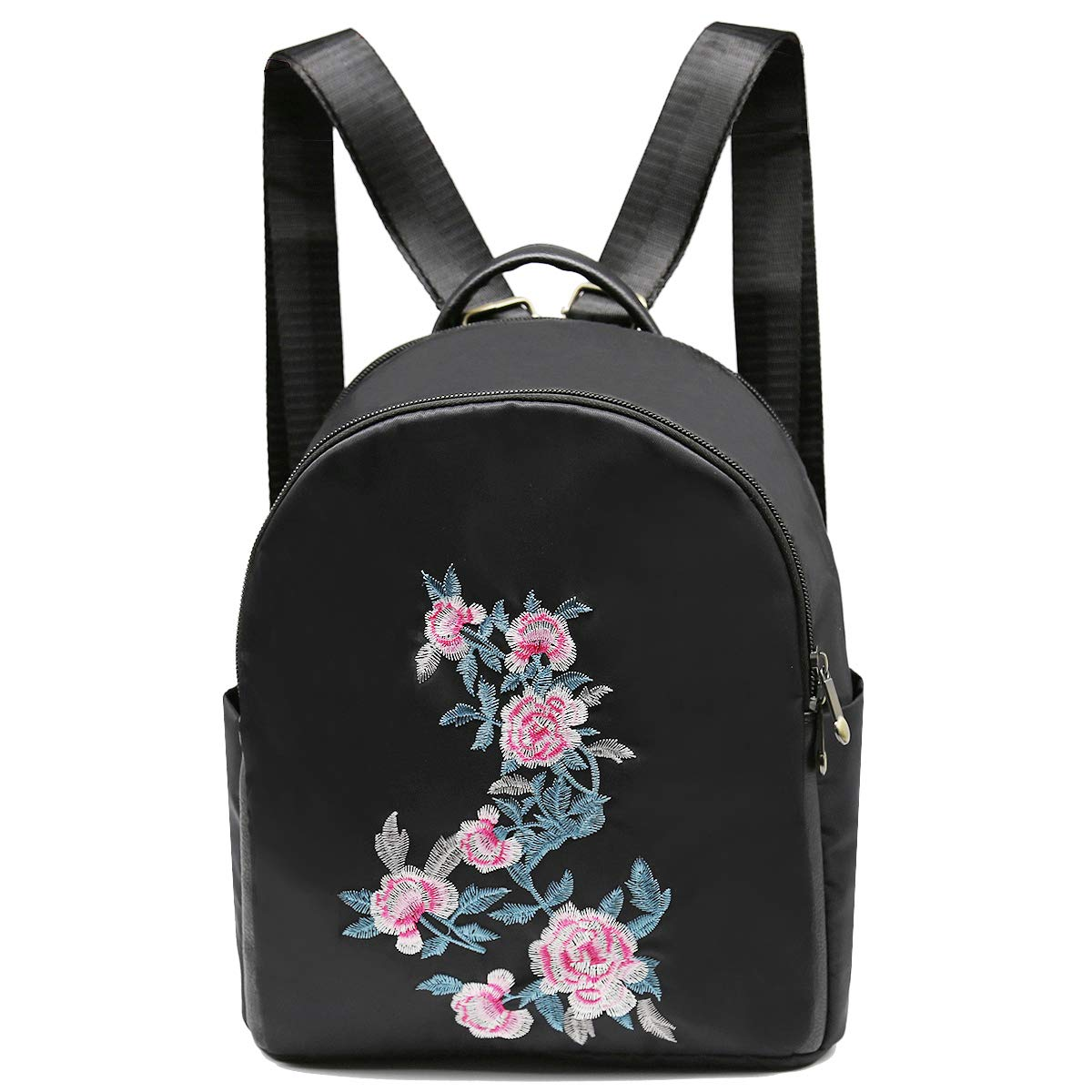 885c2b0e85d Cute Mini Backpack for Women,Embroidered Rose Backpack,Black Nylon Small  Traveling Backpack Bookbag for Girls