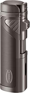Cobber Torch Lighter, Quad 4 Jet Red Flame Refillable Butane Cigar Lighter with Punch (Gunmetal Gray)