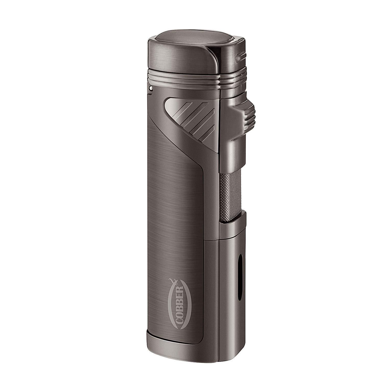 Cobber Torch Cigar Lighter, Quad 4 Jet Red Flame Refillable Butane Cigar Lighter with Punch, Gunmetal Gray