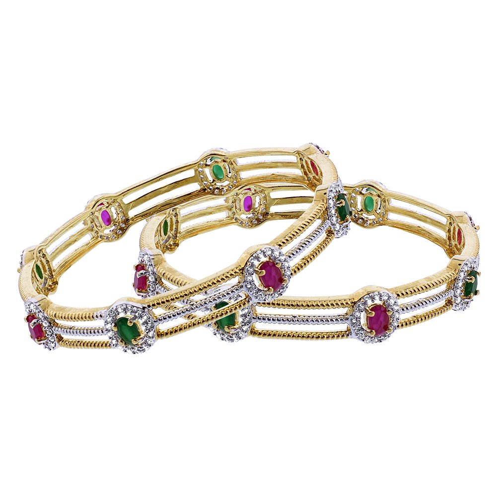 Memon Jewelers Gold Plated Oval Ruby and Emerald Color Glass with CZ Bollywood Indian Bangle Bracelets Size 2.4 Set of 2