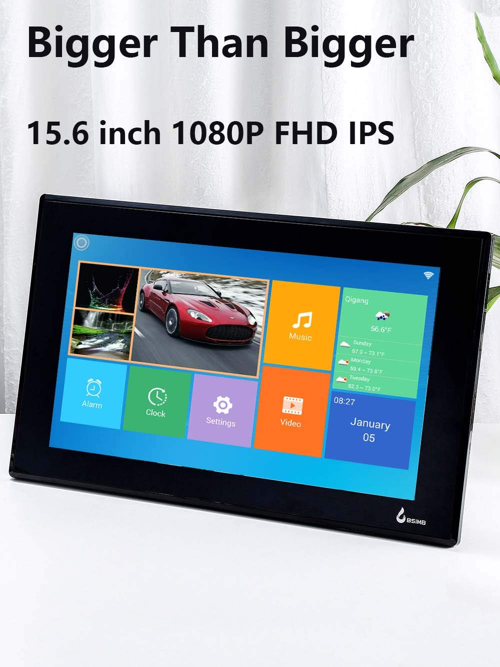Black BSIMB 15.6 Inch WiFi Cloud Digital Photo Frame Digital Picture Frame Full HD 1920x1080 IPS Touch Screen 8GB Storage Share Photos and Videos from Smartphone App Twitter Facebook Email W02