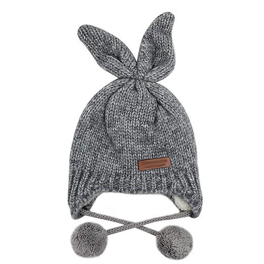 eb8560cc1f9 C.C-US Baby Kids Winter Hat Fleece Lined Beanie Warm Knit Cap with Earflap  Bunny
