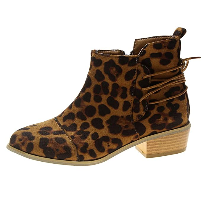 f9ef5d62269fc Cenglings Women Chelsea Boots, Ankle Short Booties Leopard Print Low Chunky  Suede Pointed Toe Shoes Zipper Lace Up Boots