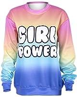LovePurdue Women Power Rainbow Printed Hoodies Sweatshirt Sleeve Causal Cozy Sudaderas Mujer Pullovers Sweatshirts